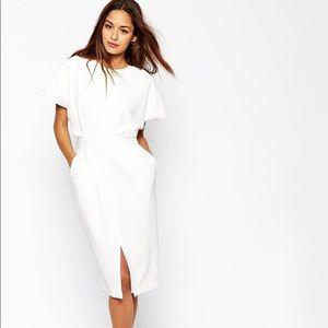 ASOS Petite Off-White Wiggle Dress W/D-ring Sz 0